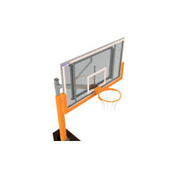 Basketbalová súprava s epoxidovou doskou 105x180 cm, jednostĺpová, inštalovaná do montážneho púzdra