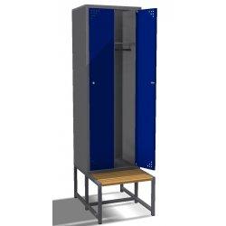 Szafa ubraniowa metalowa 2- drzwiowa, z ławką (SML-60-2)