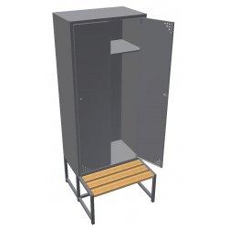 Szafa ubraniowa metalowa 2-drzwiowa, z ławką (SML-80-2)