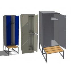 Szafa ubraniowa metalowa 3-drzwiowa z ławką (SML-90-3)