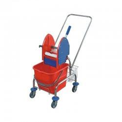 Wózek do sprzątania pojedynczy, chromowany