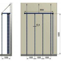 """Drążki gimnastyczne pionowe do wspinania na konstrukcji stalowej typ """"U"""" mocowanej do ściany."""