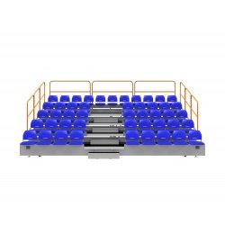 Teleskopické tribúny zásuvné so sklápacími plastovými sedadlami