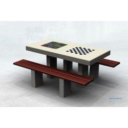 Betonowy, podwójny stół do gry w karty, szachy, chińczyka