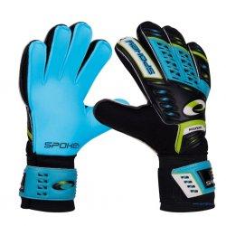 Rękawice bramkarskie Spokey Keeper Junior 838069, kolor czarno-zielono-niebieskie ( rozmiar 4)